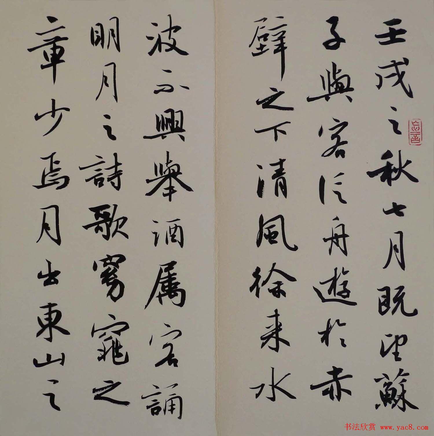 方放书法作品欣赏 苏轼赤壁赋 第2页 毛笔书法 书法欣赏图片
