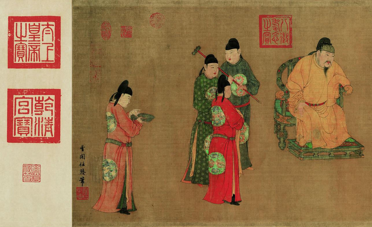 元代任仁发人物画欣赏《张果见明皇图卷》