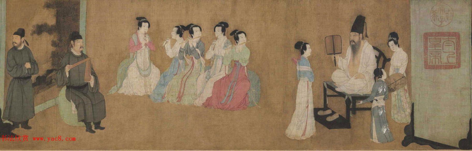 五代顾闳中人物画卷《韩熙载夜宴图》北京故宫博物院藏
