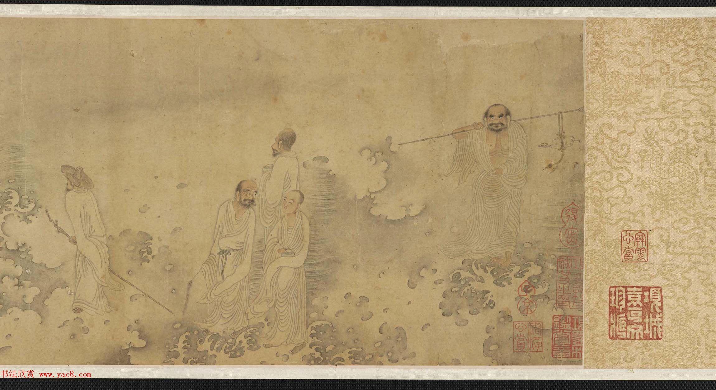 北宋李公麟十二罗汉图附书法题跋美国弗利尔美术馆藏