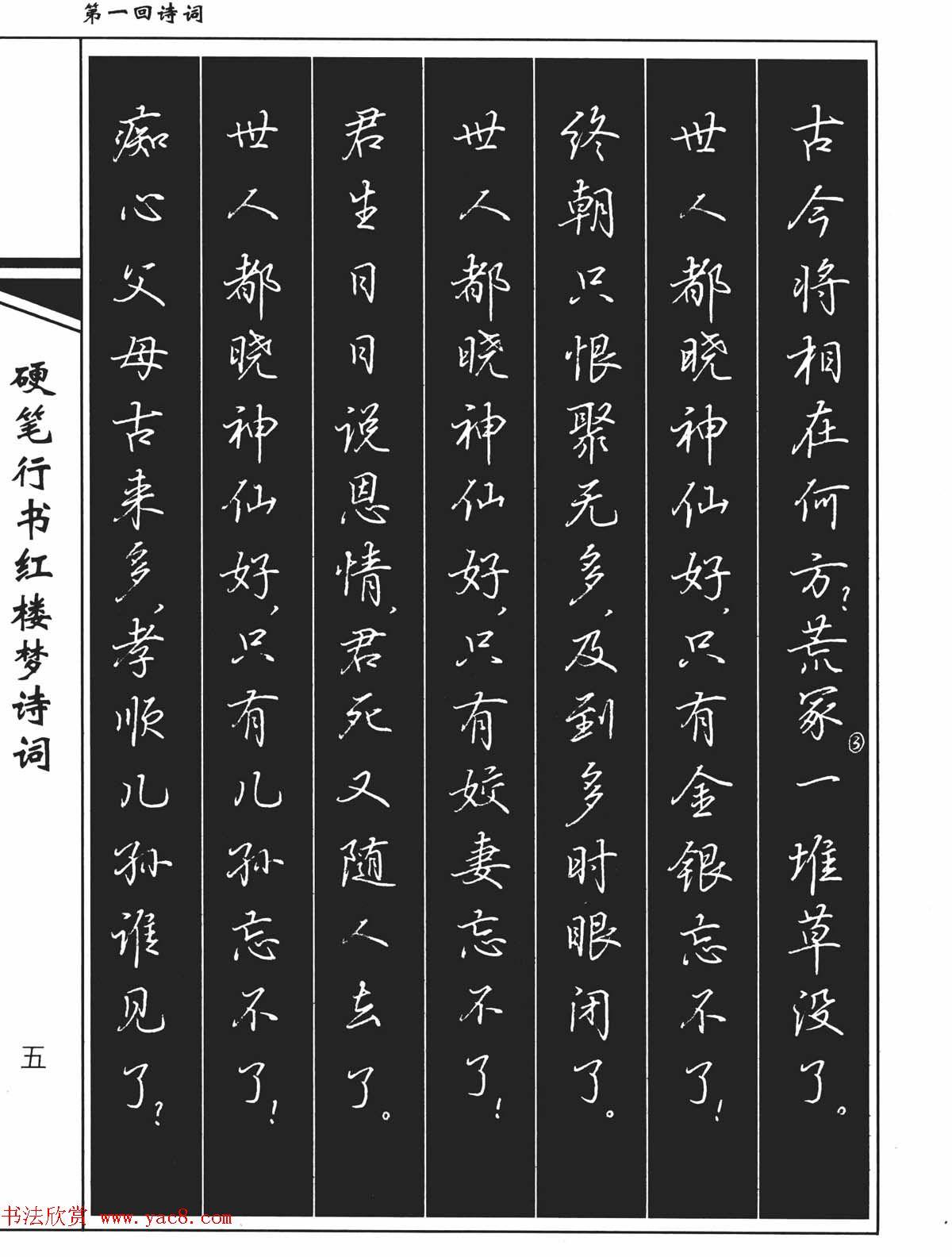 吴玉生钢笔字帖欣赏 硬笔行书红楼梦诗词图片