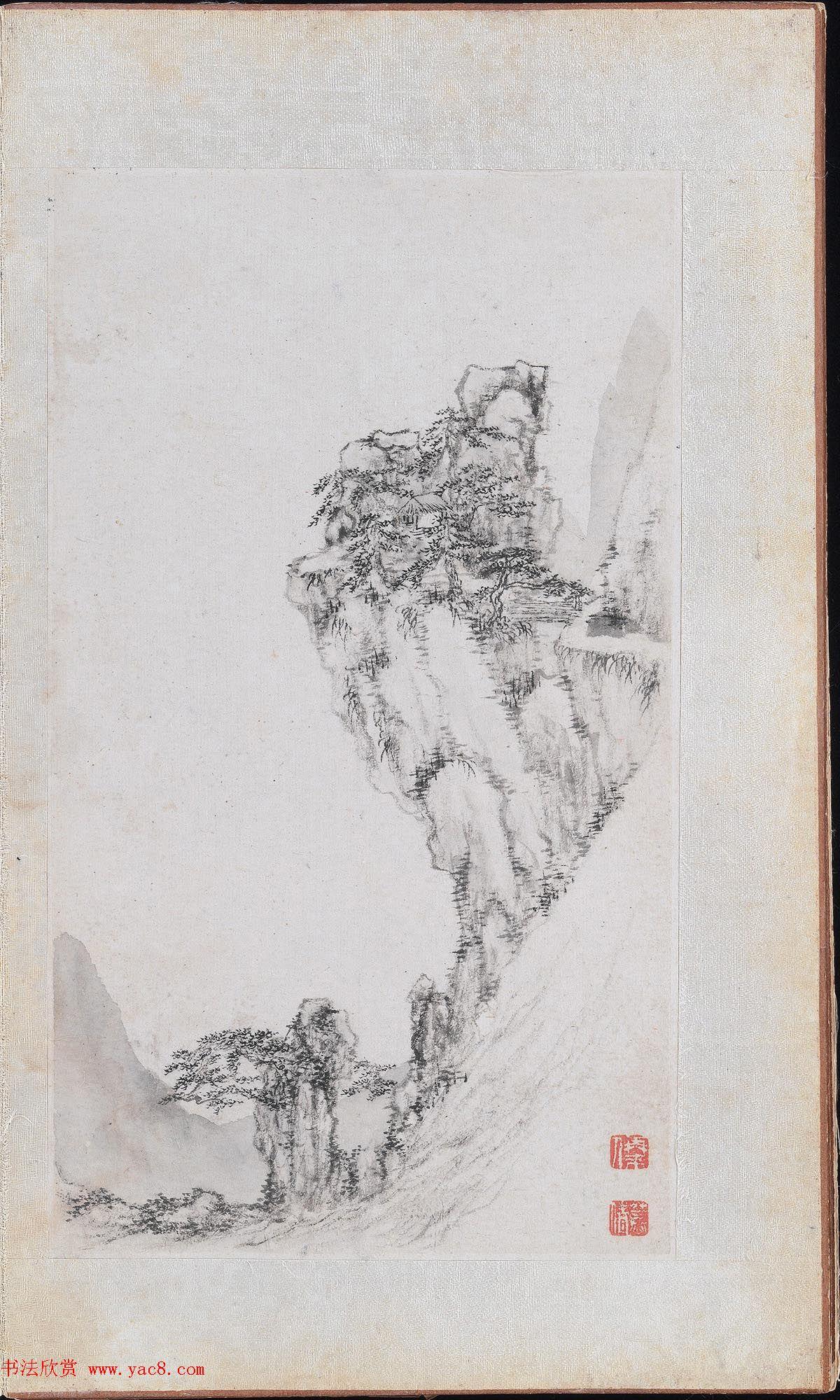 郑旼书法字画欣赏《黄山八景图册》