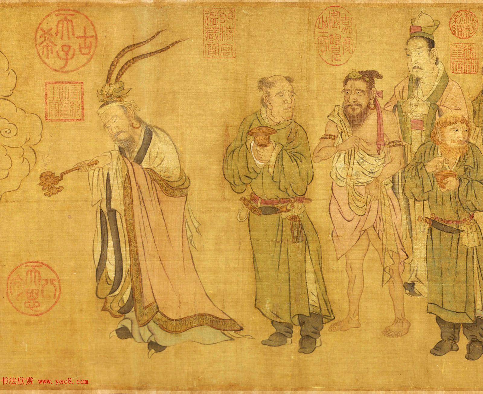 宋代赵光辅人物画欣赏《番王礼佛图》