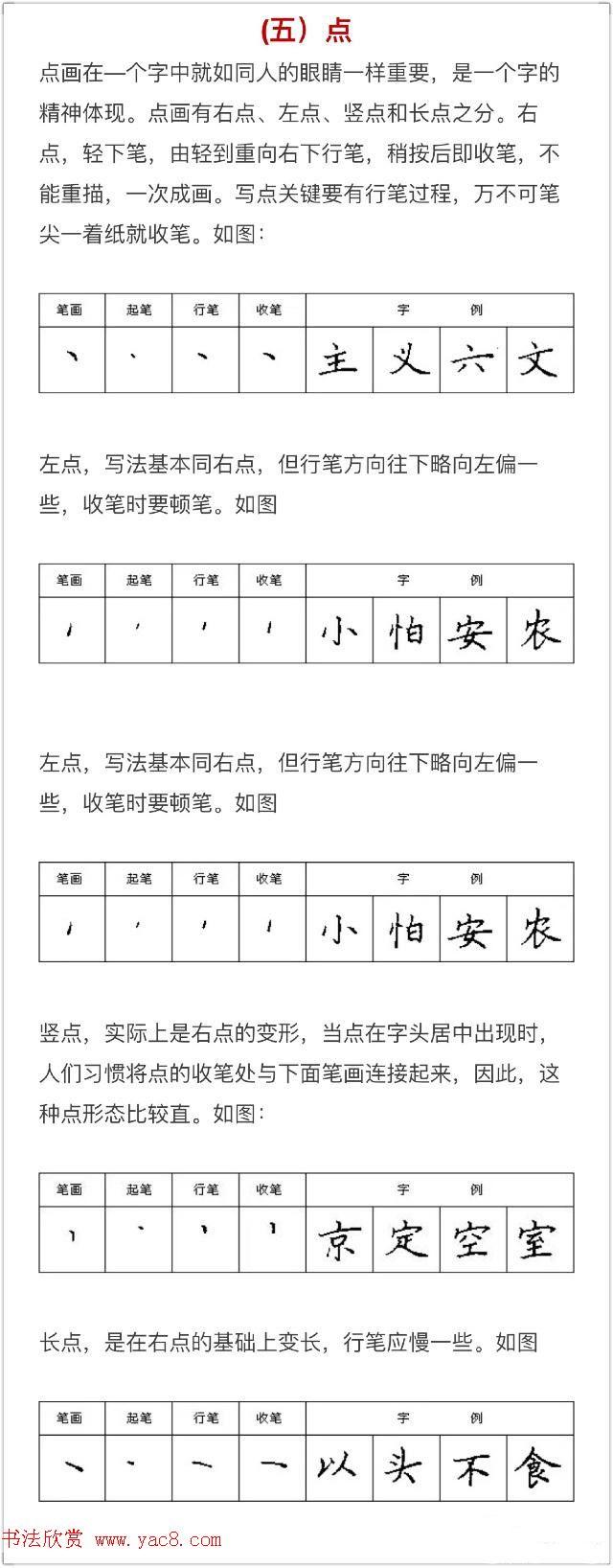 硬笔书法入门教程:基本笔画 行楷书法九课_钢笔字帖