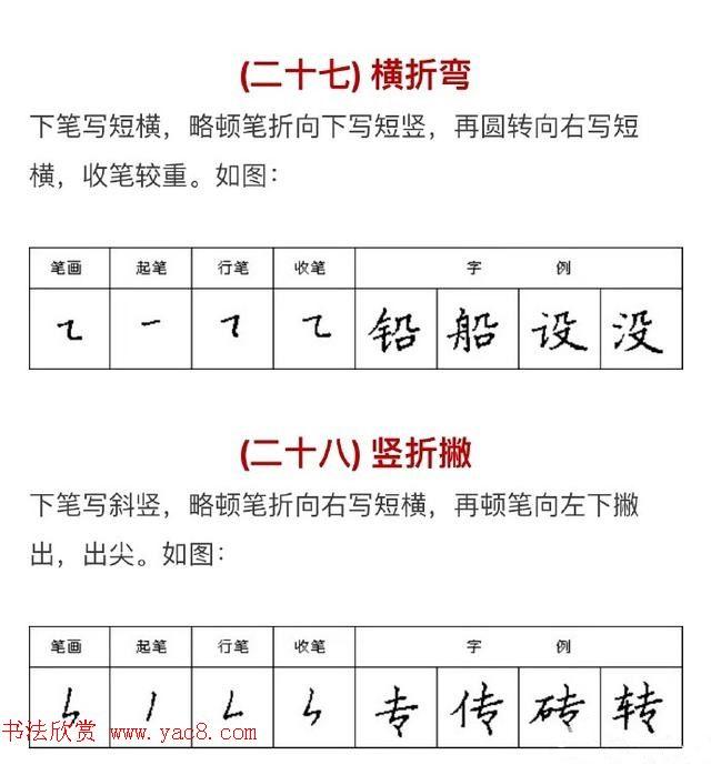 硬笔书法入门教程:基本笔画 行楷书法九课(3)