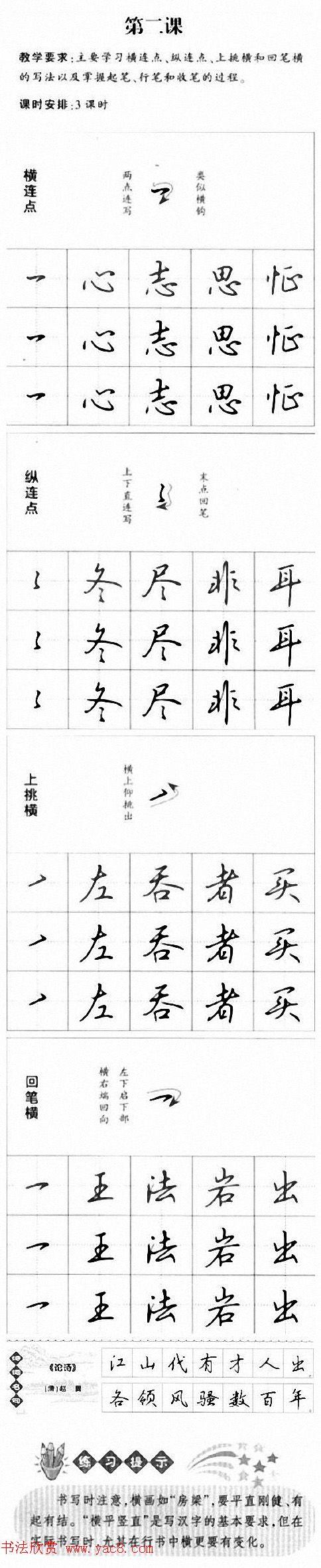 硬笔书法入门教程:基本笔画 行楷书法九课(4)