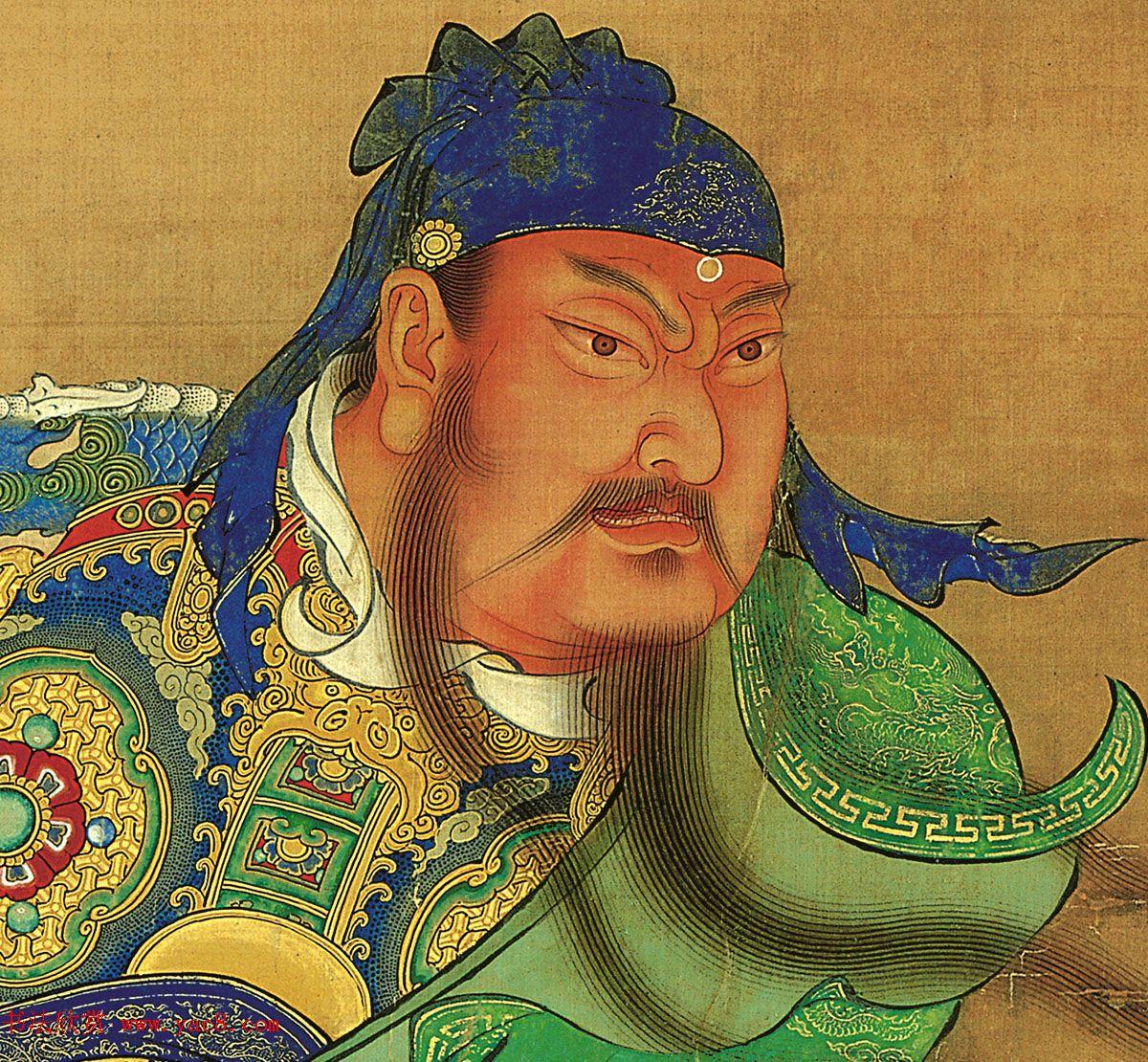 明代宫廷画家商喜工笔画《关羽擒将图》
