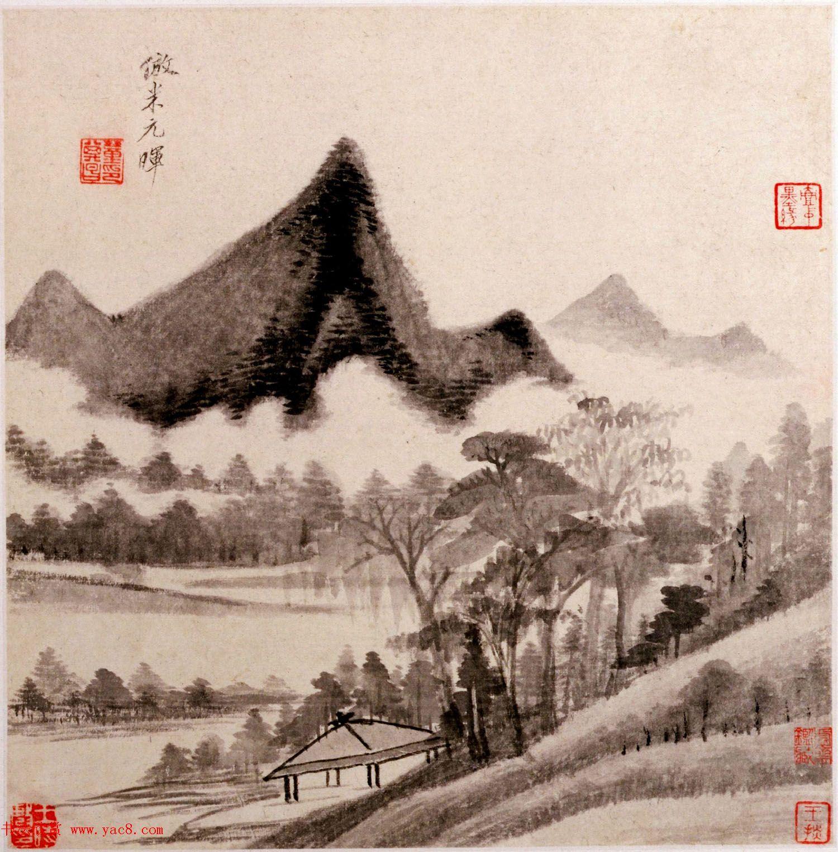 明代董其昌字画欣赏《仿古山水》册