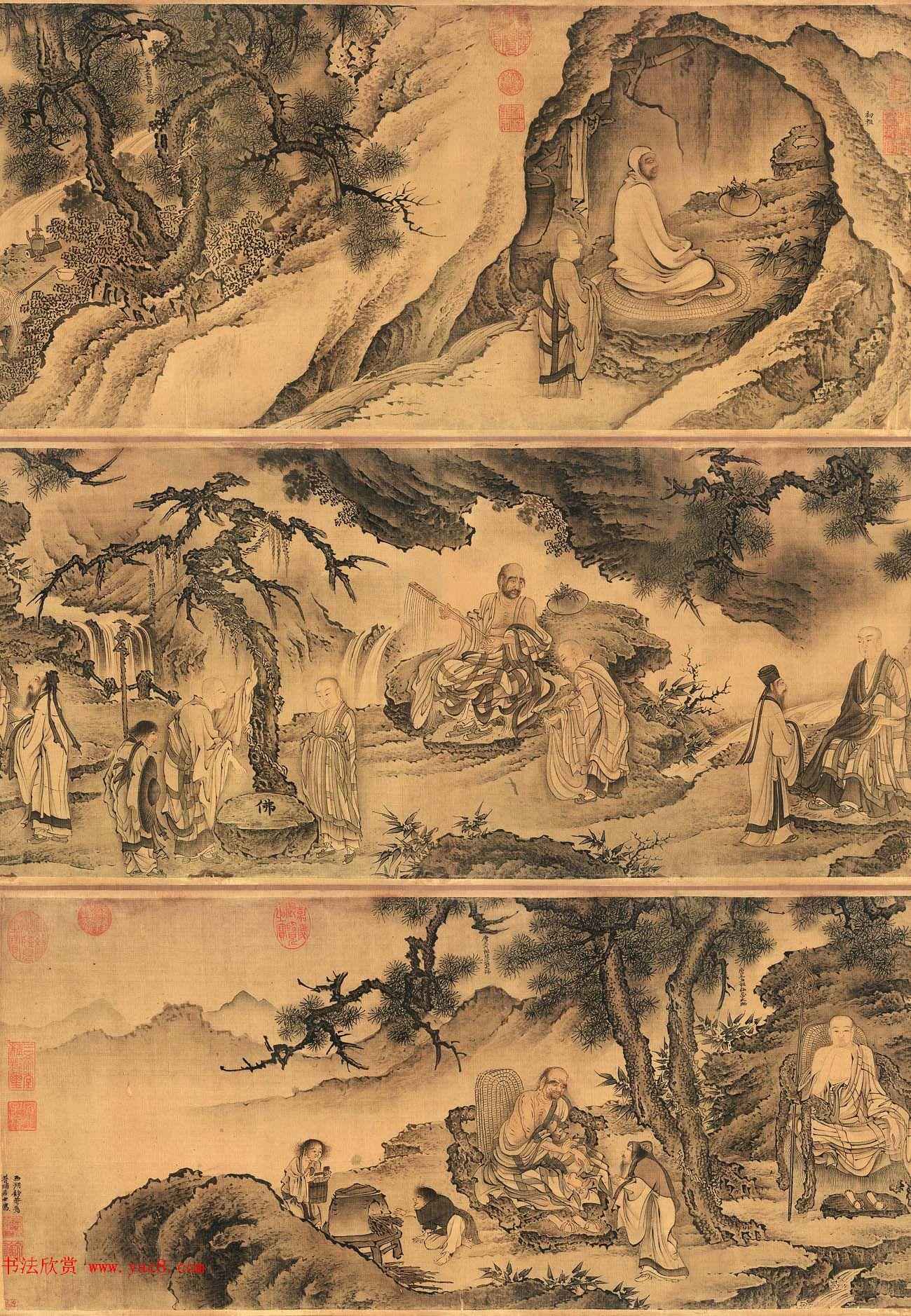 戴进工笔人物画赏析《达摩六代祖师图》