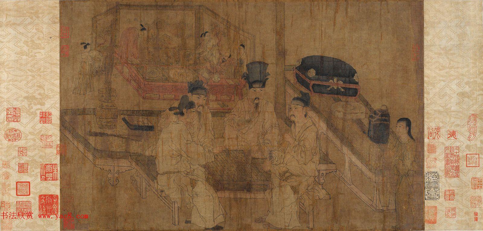 五代南唐画家周文矩《重屏会棋图》两种