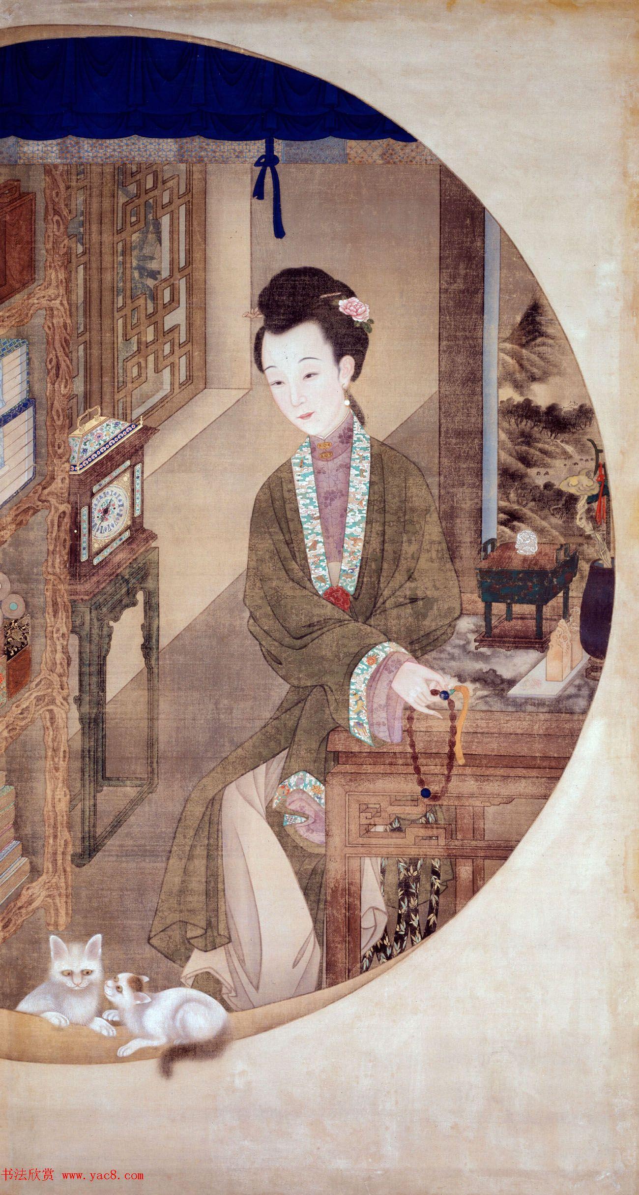 清初宫廷工笔重彩人物画《十二美人图》