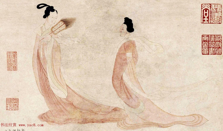 文徵明48岁小楷字画《湘君湘夫人图》