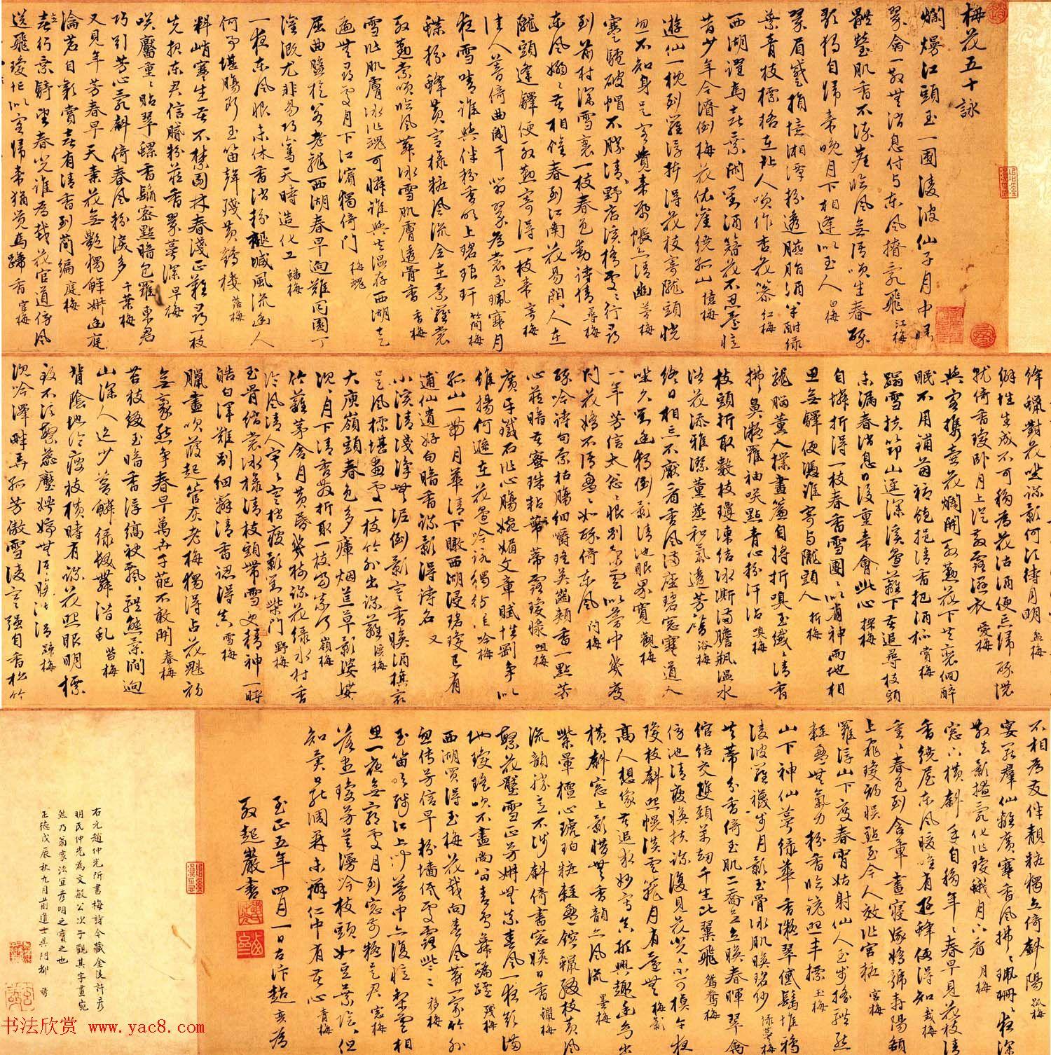 赵孟頫第三子赵奕行书梅花五十咏卷