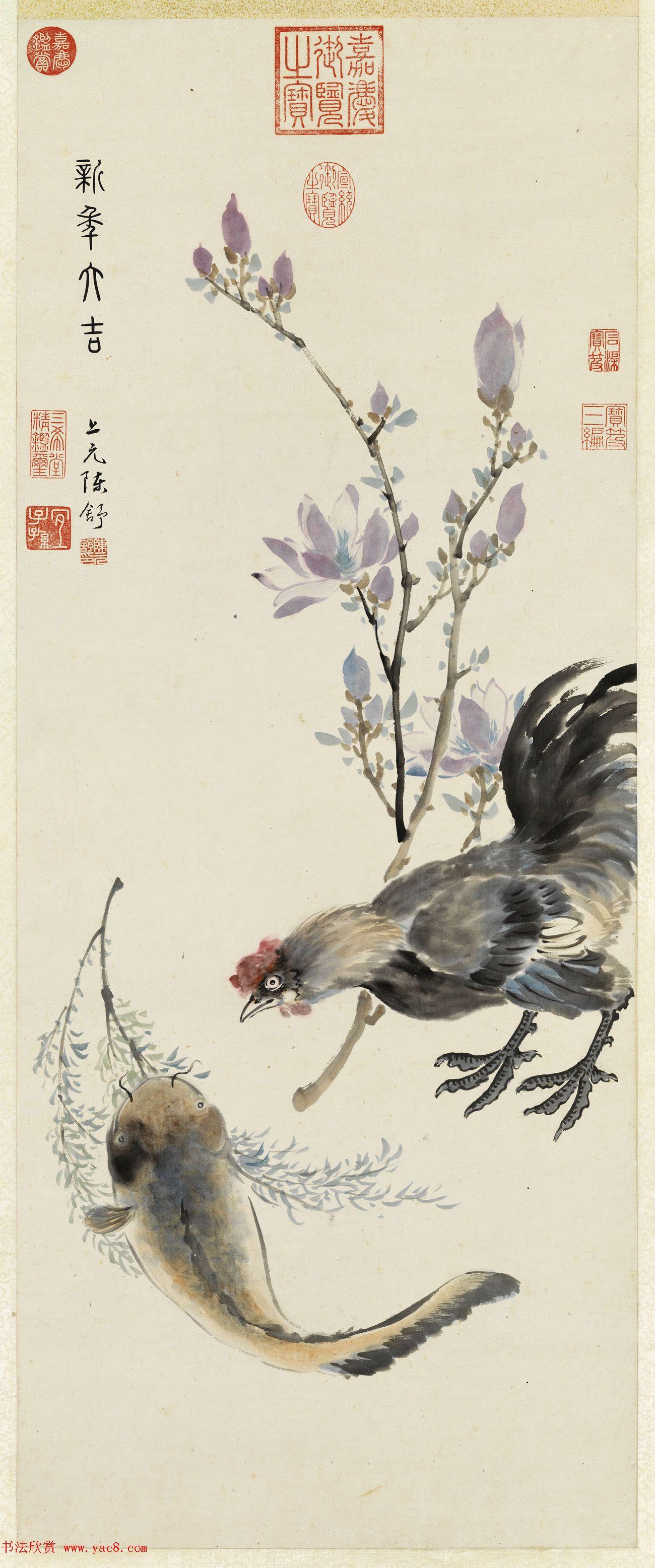 清代陈舒绘画《新年大吉》