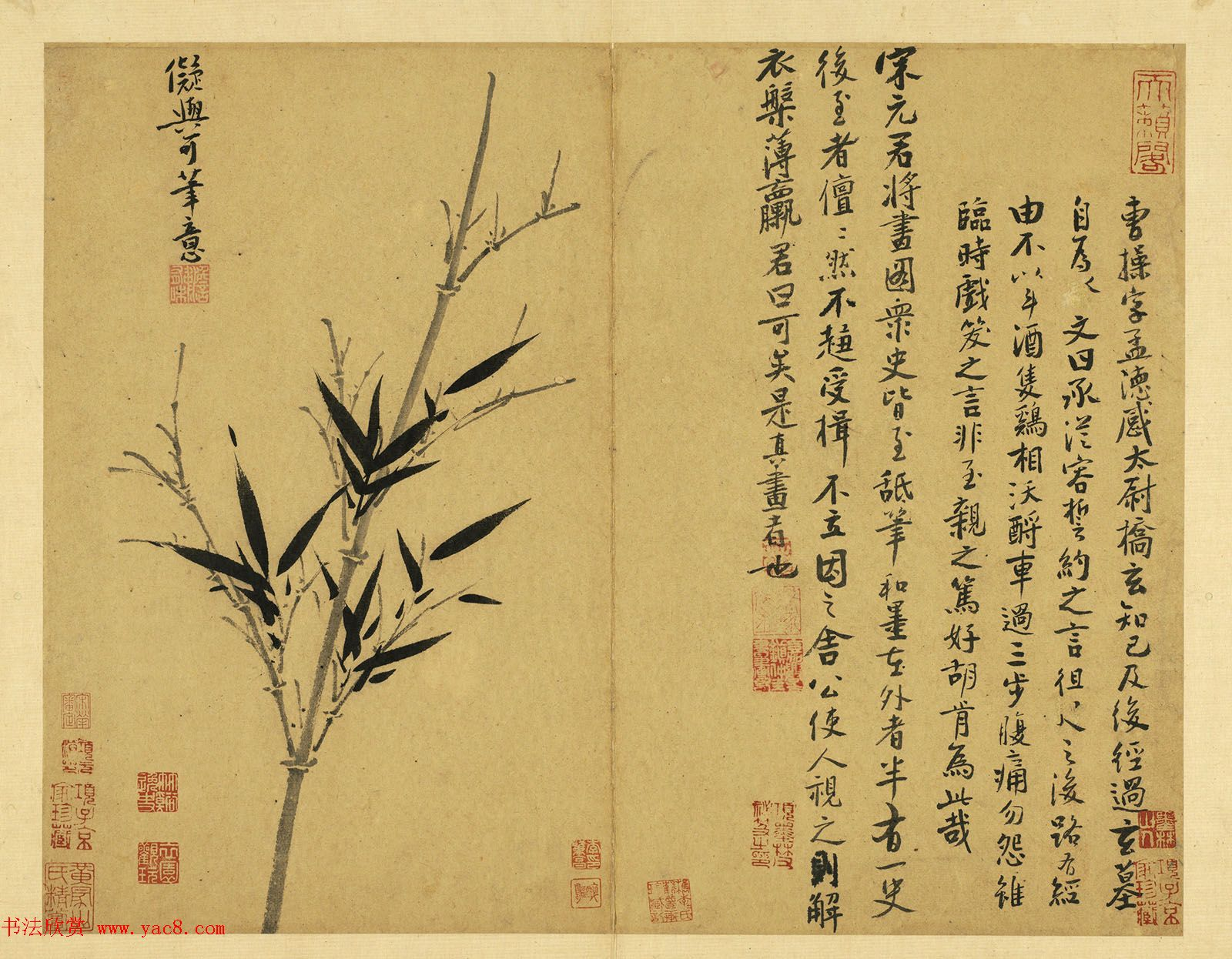 元代吴镇71岁书画册《墨竹谱》