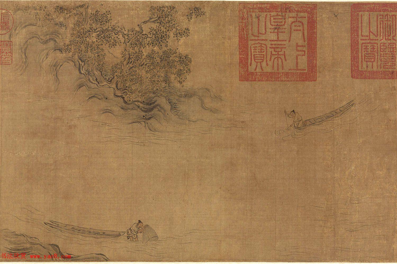 宋高宗书《毛诗小雅》马和之南有嘉鱼等六篇书画卷