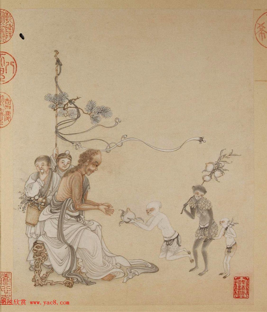 清代字画欣赏《罗汉册》(张照书法+冷枚绘画)