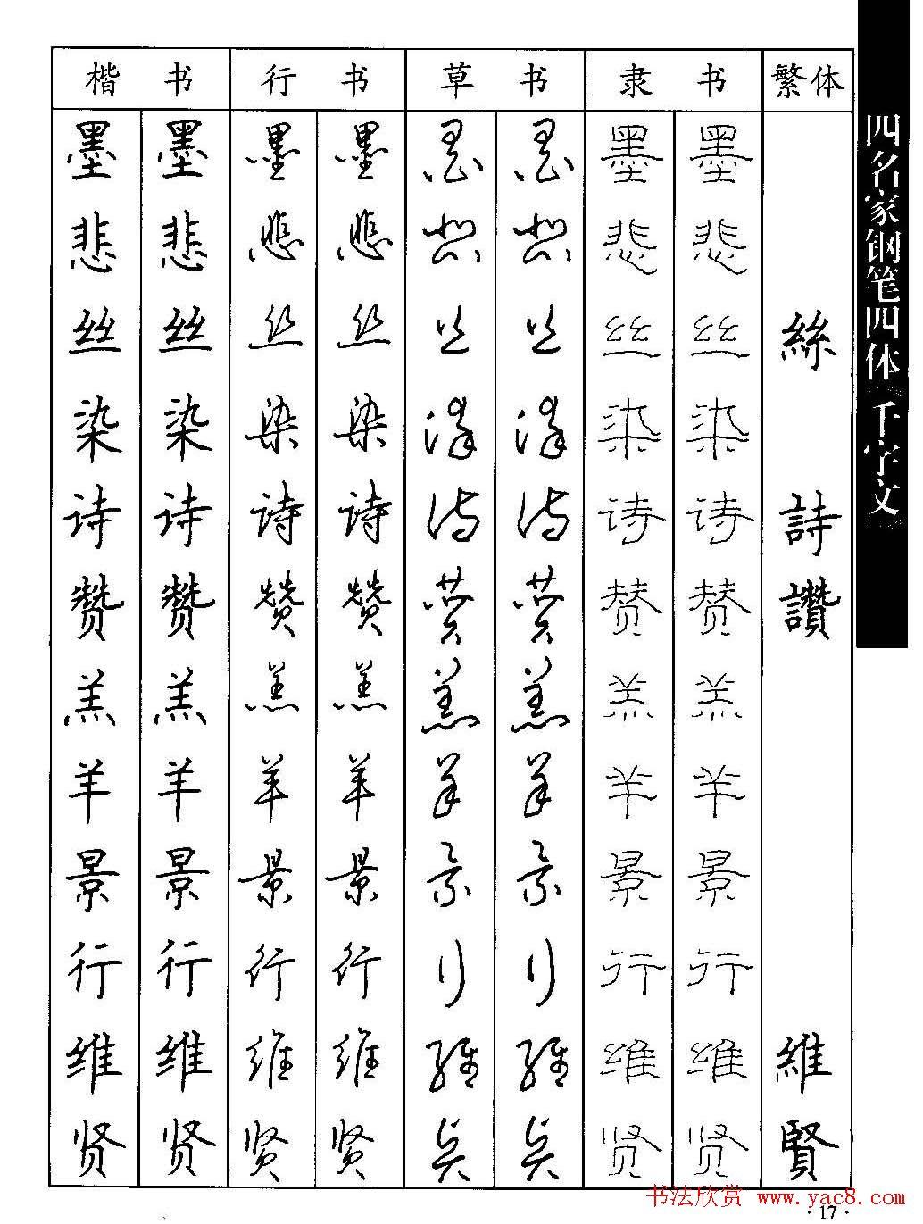 名家钢笔楷行草隶四体千字文字帖(17)图片