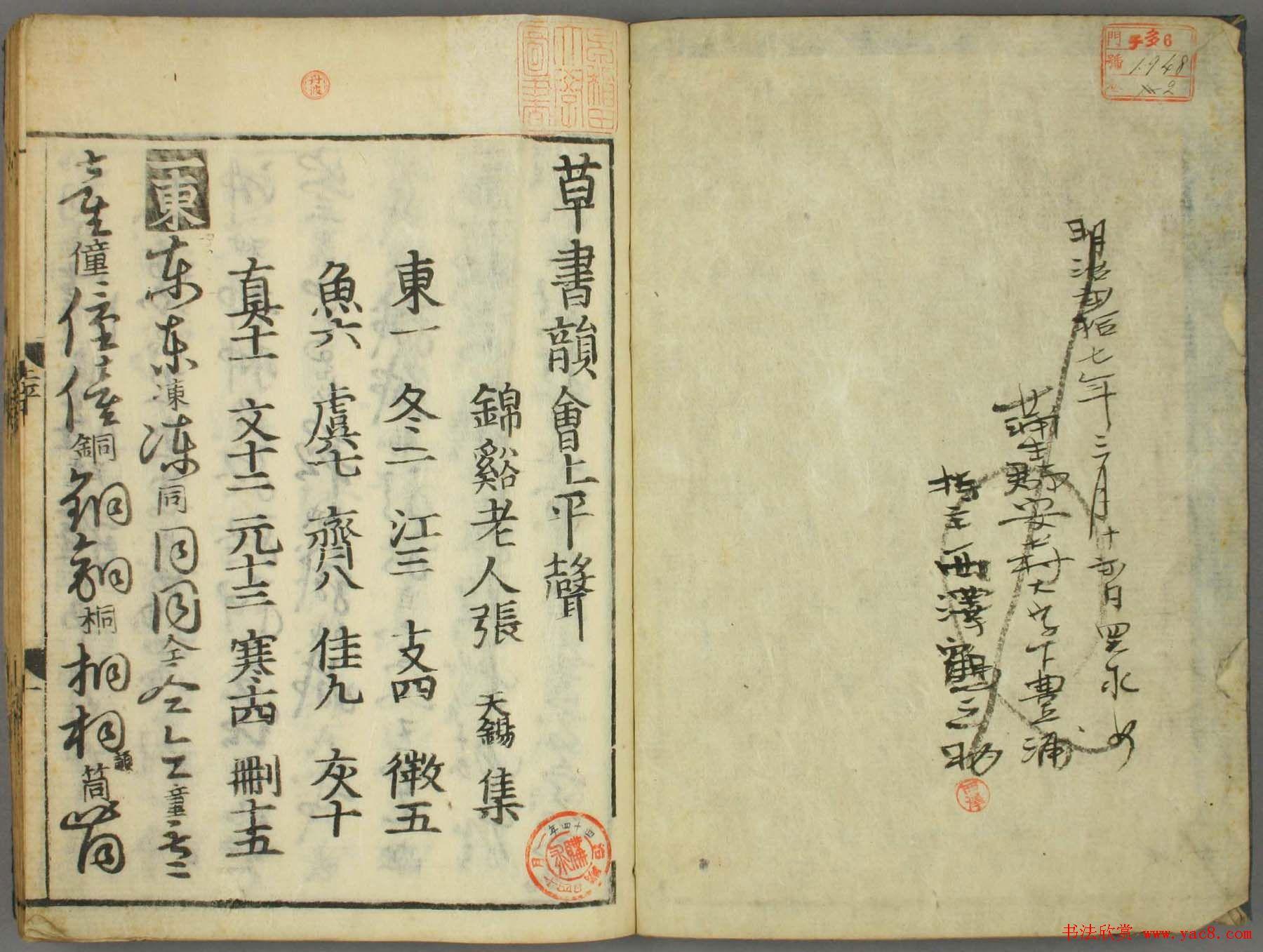 古籍图书张天锡集王羲之《草书韵会》