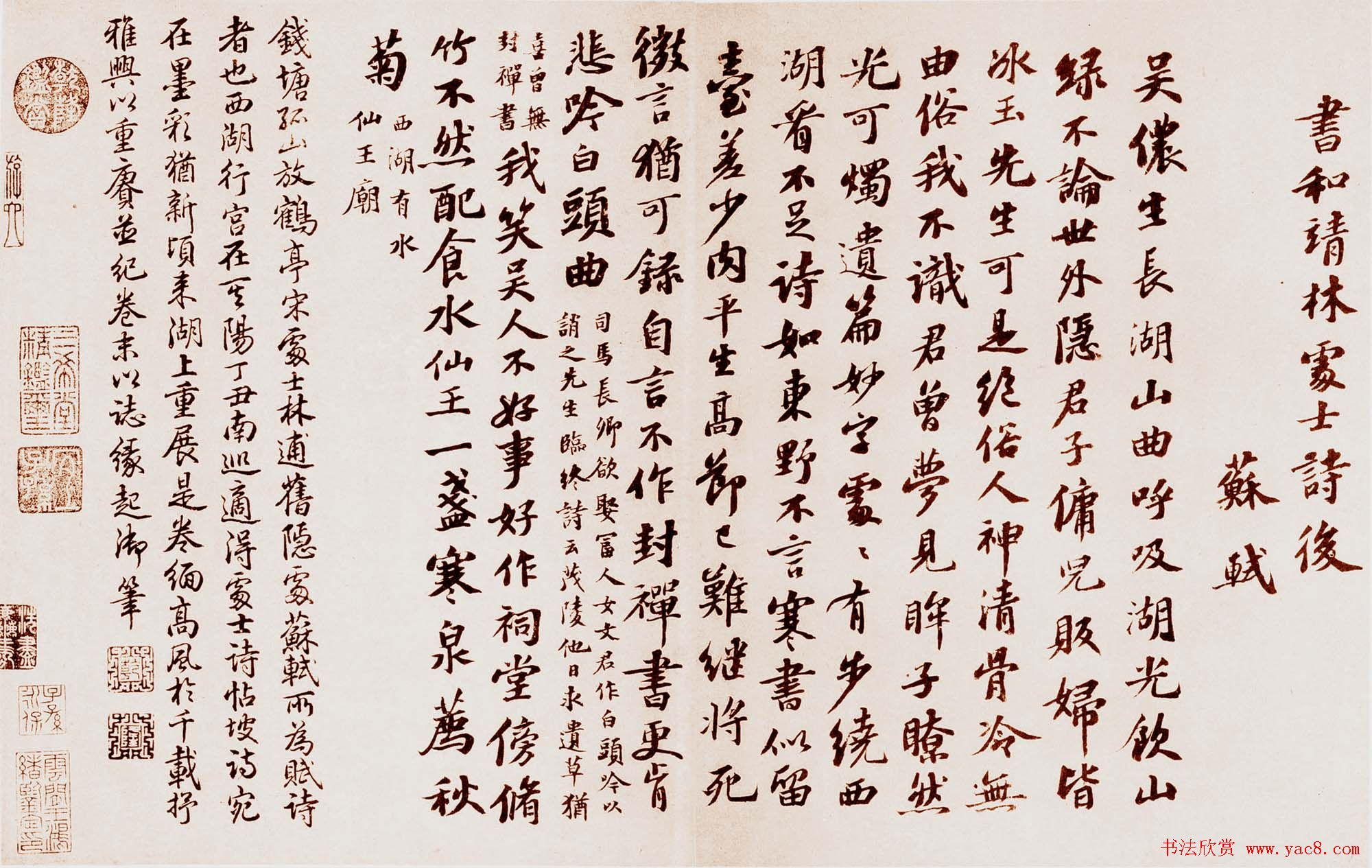 苏轼书法墨迹欣赏《书林逋诗后》
